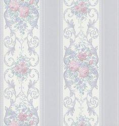 "Brewster Vintage Legacy III Rose Scroll Stripe Wallpaper 20.5""x396"" - Blue"