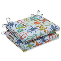 Pillow Perfect Outdoor Seapoint Summer Squared Corners Seat Cushion, Blue, Set of 2