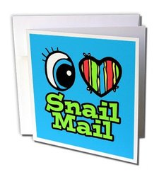 Greeting Cards, 6 x 6 Inches, Pack of 12, Bright Eye Heart I Love Snail Mail (gc_106528_2)