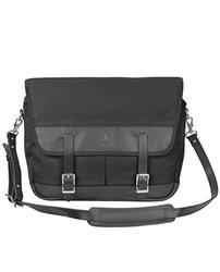 Arrow Canvas Leather Snapshot Shoulder Messenger Bag - Black/Black