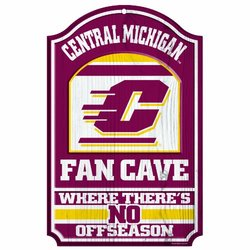 """NCAA Central Michigan Chippewas 11-by-17 """"Fan Cave"""" Wood Sign"""