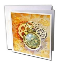 """Steampunk with Cogs, Gears, Golden Pocket Watch Greeting Cards, 6"""" x 6"""", Set of 12 (gc_212827_2)"""