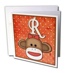 """Cute Sock Monkey Girl Initial Letter R Greeting Cards, 6"""" x 6"""", Set of 12 (gc_102821_2)"""