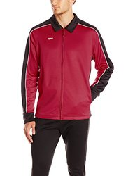 Speedo Men's Streamline Warm Up Jacket - Black/Maroon - Size: Large