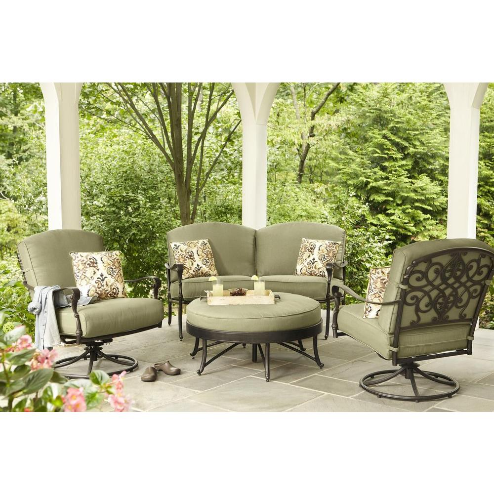 ... Hampton Bay Edington Curved Patio Loveseat Sectional With Celery  Cushions ...