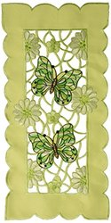 Xia Home Fashions Emerald Mariposa Embroidered Cutwork Traycloth (Set of 4