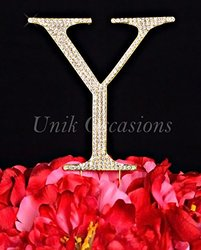 Unik Occasions Collection Crystal Rhinestone Wedding Cake Topper, Large, Letter Y, Gold