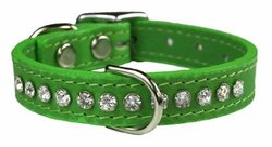 """OmniPet Signature Leather Crystal and Leather Dog Collar, 10"""", Kiwi"""