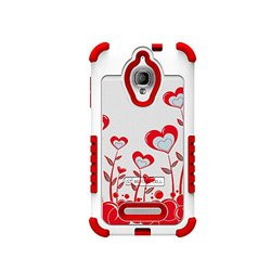 Beyond Cell Duo-Shield Durable Hybrid Hard Shell and Silicone Gel Case - Non-Retail Packaging - True Heart White/Red