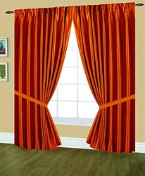 Editex Home Textiles Elaine Lined Pinch Pleated Window Curtain, 48 by 84-Inch, Orange