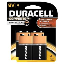 Duracell Coppertop 9-V Alkaline Batteries - 4 Count