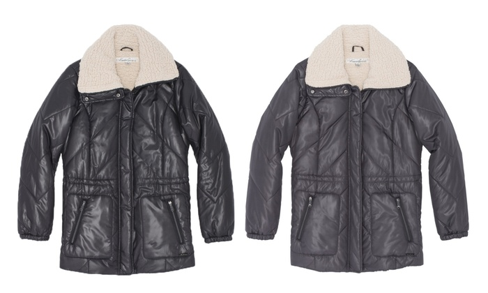 135afe64224ec Kenneth Cole Faux Sherpa Lined Plus Size Jacket  Coal (2X) - Check ...