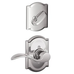 Schalge F94ACC625CAMRH Bright Chrome Interior Pack Accent Lever Right Handed Dummy Interior Pack with Deadbolt Cover Plate and Decorative Camelot Rose
