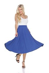 White Mark Women's Flared Midi Skirt with Pockets - Royal - Size: XL
