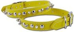 """OmniPet Signature Leather Pet Collar with Spike and Stud Ornaments, Yellow, 3/4 by 16"""""""