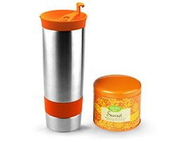 Asobu Hot Press Bottle with Sunset Tea, 16-Ounce, Stainless Steel/Orange