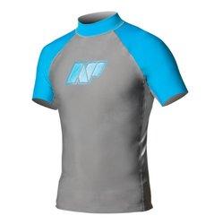 NP Surf Classic Short Sleeve Rashguard Shirt, Grey/Blue, Medium