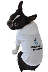 Ruff Ruff and Meow Dog Hoodie, I Love Matzah Balls, White, Small
