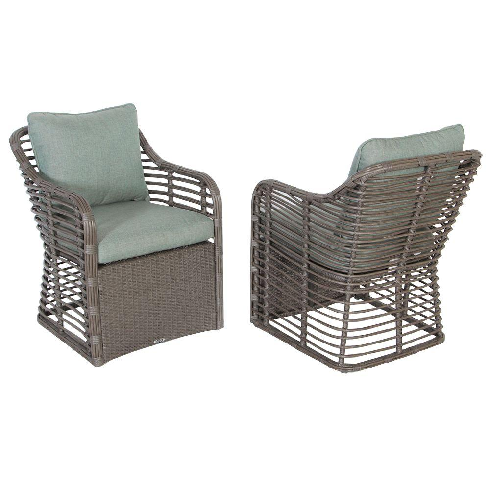 Hampton Bay Cane Crossing All Weather Wicker Patio Chat Chair 2 Piece