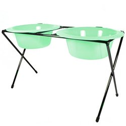 Platinum Pets 4-Cup Deluxe Wide Rimmed Bowls - Winter Mint