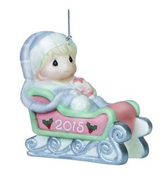 Precious Moments Porcelain Baby's First Christmas 2015 Ornament - Boy