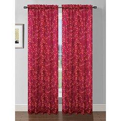 Window Elements Pinehurst Printed Sheer Single Curtain Panel Fuschia