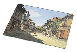 Rikki Knight RK-LGCB-3547 Claude Monet Art Street of Bavolle Glass Cutting Board, Large, White