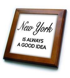 "ft_163815_1 New York is Always a Good Idea Framed Tile, 8 by 8"""