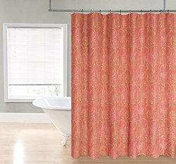 "Regal Home Paisley Damask Printed Fabric Shower Curtain -Coral - 70"" x 72"""