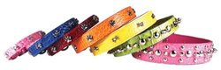 OmniPet Faux Crocodile Signature Leather Pet Collar with Spike and Stud Ornaments, Yellow, 1 by 26""