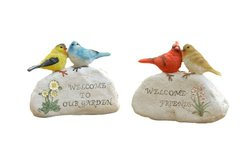 Your Heart's Delight Birds Sitting on Garden Stones Figurine, 7 by 6-Inch, Set of 2