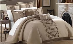 Rhonda 8-piece Ruffled Comforter Set: King/taupe