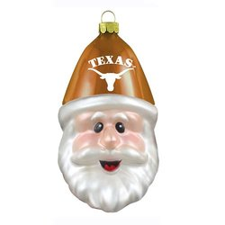 NCAA Texas Longhorns Blown Glass Santa Cap Ornament