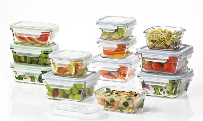 Pro Glass GlassLock Food Storage Set With Easy Snap Lids   24 Piece