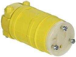 Leviton 1548 20 Amp, 250 Volt, Connector, Straight Blade, Industrial Grade, Grounding, Dustguard, Yellow