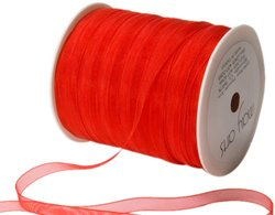 May Arts 1/4-Inch Wide Ribbon, Red Sheer