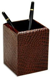 Dacasso Crocodile Embossed Leather Pencil Cup - Brown