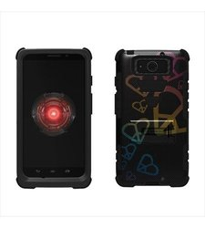 Beyond Cell High Impact Hybrid Hard + Soft Tough Armor Rugged Case with 3 Layers of Protection and Built-In Kickstand - Retail Packaging - Black/Black/Rainbow Harts