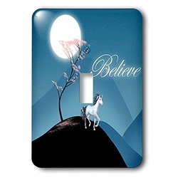 lsp_165239_1 Believe, Stylized Tree on Hill with Unicorn, Moon, and Pink Flowers Single Toggle Switch