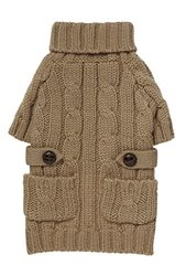"Fab Dog Chunky Turtleneck Dog Sweater, Camel, 8"" Length"