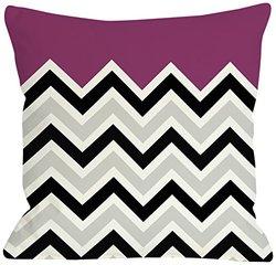 """Bentin Home Decor Chevron Solid Throw Pillow by OBC, 16""""x 16"""", Fuchsia/Black/White"""