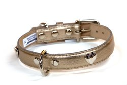 Bluemax Genuine Leather Metallic Cow Dog Collar, 5/8-Inch by 8-Inch, Pewter