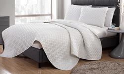 Victoria Classics 3-Piece Nina Embossed Quilt Set - White - Size: King