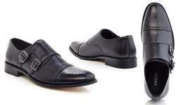 Adolfo Euro Men's Monk Strap Slip-On Shoes - Black - Size: 11