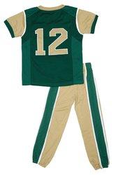Fast Asleep ToddlerFootball Uniform Pajamas - Green/Gold - Sz: 5T