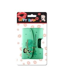 Reiko Leather Pouch for Protective Carrying Cell Phone Case - Retail Packaging - Betty Boop Light Green