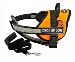 "Dean & Tyler's DT Works Orange ""DECOMP DOG"" Harness with Chest Padding, X-Small, and Black 6 ft Padded Puppy Leash."