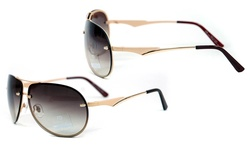 AG Dasein AG-U033 65mm Women's MMK Sunglasses - Frame: Gold / Lens: Coffee