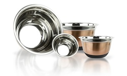 Imperial Home 4 Piece Stainless Steel Bowls Set - Copper with Silicone Base