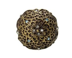 Carpe Diem Hardware 4514-3CAQ Monticello Large Round Knob Made with Swarovski Elements, Antique Brass, 1-9/16-Inch